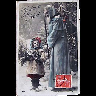 Santa in Blue Robe, Tinted French Real Photo Postcard, Doll-like Girl, Pine Boughs, Joyeux Noël, Vintage 1910s