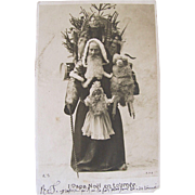 French Real Photo Postcard, Papa Noël with Dolls and Toys, Vintage 1910s