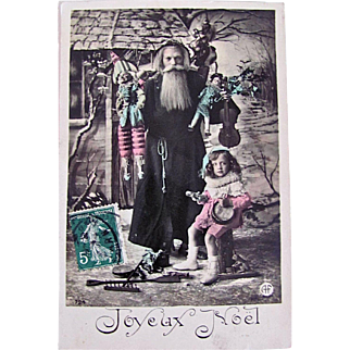 Hand Tinted French Real Photo Postcard, Father Christmas, Little Elf Girl, Dolls and Toys, Joyeux Noël, Vintage Early 1900s