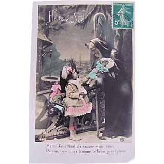 Hand Tinted French Real Photo Postcard, Père Noël Giving a Doll to a Little Girl, Heureux Noël, Postmarked 1910