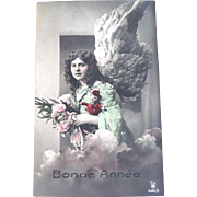Hand Tinted French Real Photo Postcard, New Years Angel and Dolls, Bonne Année, Dated 1913