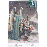 Tinted French Real Photo Christmas Postcard, Blue Angel, Pink Roses and Dolls, Joyeux Noël, Postmarked 1907