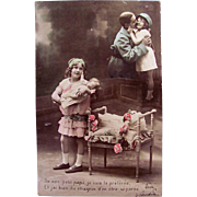 WWI Hand Tinted French Real Photo Postcard, Little Girl with Doll Missing Her Papa, Dated 1918
