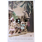 Tinted Real Photo Postcard, Joyeux Noel, Father Christmas, Sled, Little Girl, Doll and Toys, French, Vintage 1910s, Marked PC, Divided Back with Written Message