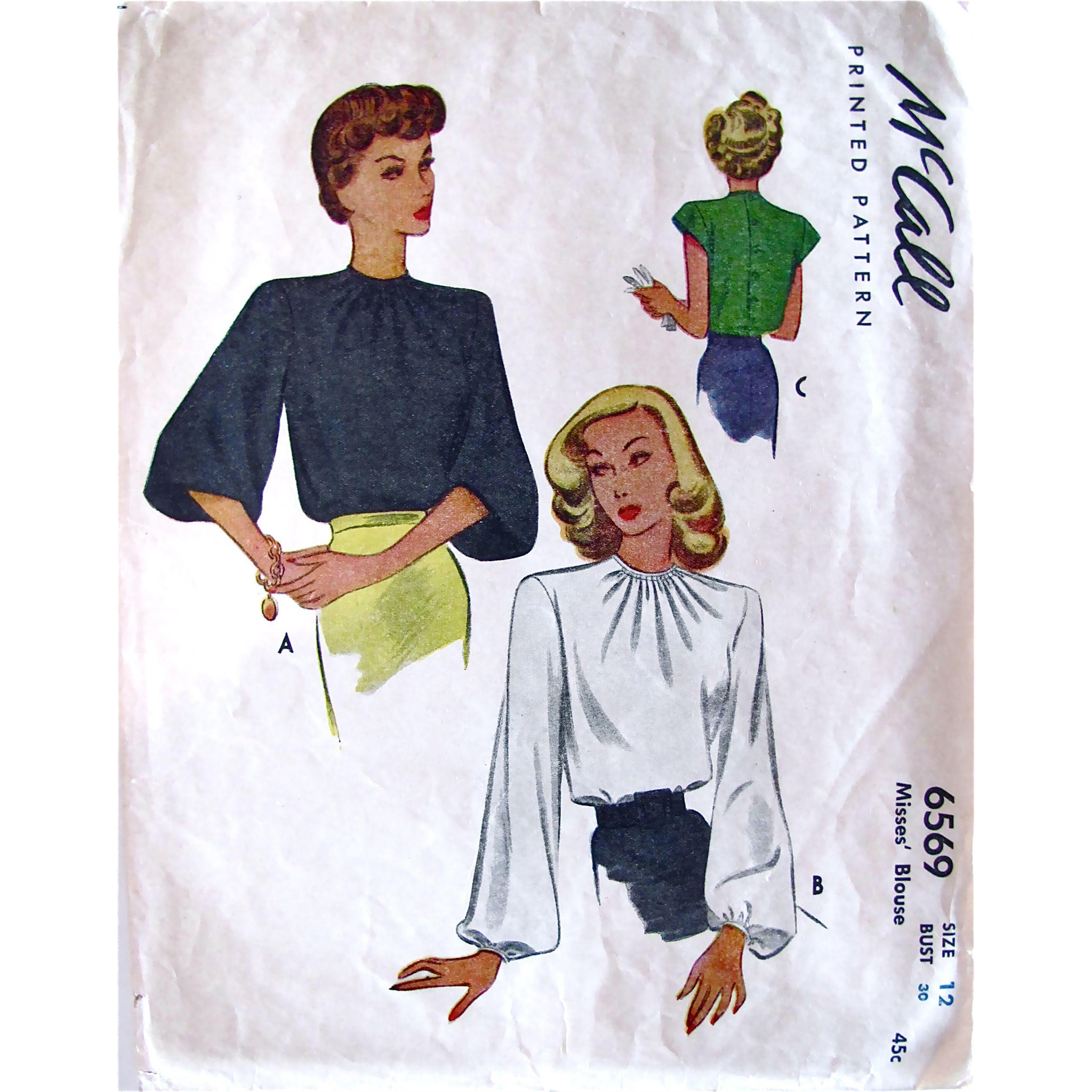Misses' Blouse Pattern Vintage 1946 McCall 6569 Size 12 Bust 30 Complete