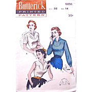 Misses' Yoked Blouse Pattern Vintage 1950s Butterick 6856 Size 14 Bust 34 Factory Folded