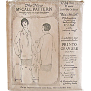 Ladies Slip-On Blouse Pattern, Vintage 1921, The New McCall Pattern 3724, Size 38 Bust, Early Printed Pattern, Factory Folded