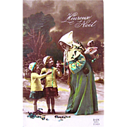 Tinted French RPPC, Heureux Noel, Father Christmas in Green Robe, Little Girls, Dolls, Snow, Holly, Vintage 1930s, Marked DIX Paris, Divided Back with Written Message