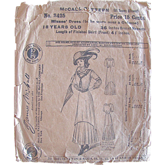 Misses Dress Pattern, Vintage 1908, McCall Pattern No. 3425, Size 18 Years, Bust36, Factory Folded