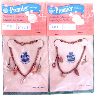 Doll Necklace and Earrings, 2 Packages, Premier Doll Jewelry, Fits 8 to 11 Inch Dolls, MIP