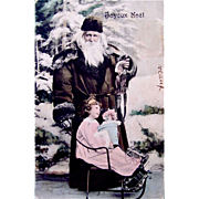 Hand Tinted French RPPC, Joyeux Noel, Father Christmas, Little Girl, Doll, Jester Puppet, Sled, Postmarked 1907, Divided Back with Written Address