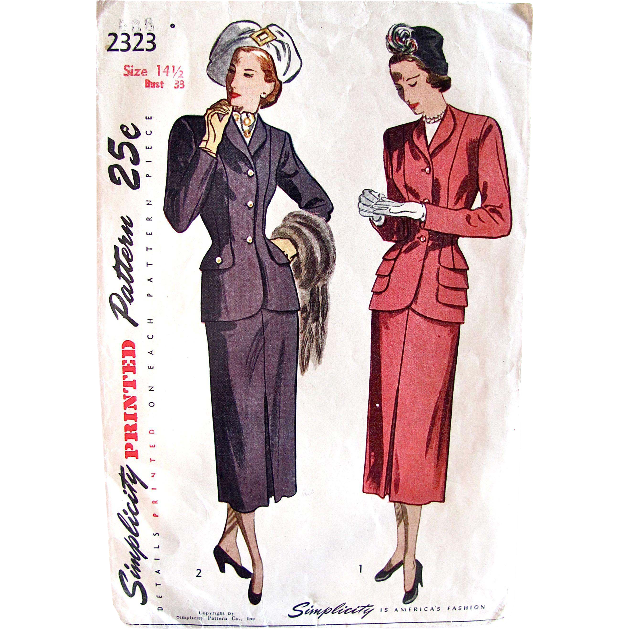 1940s Two-Piece Dress Suit for Misses and Women, Vintage Simplicity Sewing Pattern 2323, Size 141/2, Bust 33 Complete
