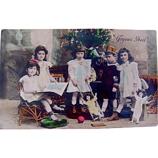 French Real Photo Post Card, Hand Tinted, Joyeux Noel, 5 Beautiful Children, Dolls, Book, Toys, Decorated Christmas Tree, Postmarked 1910, Divided Back with Written Message and Address