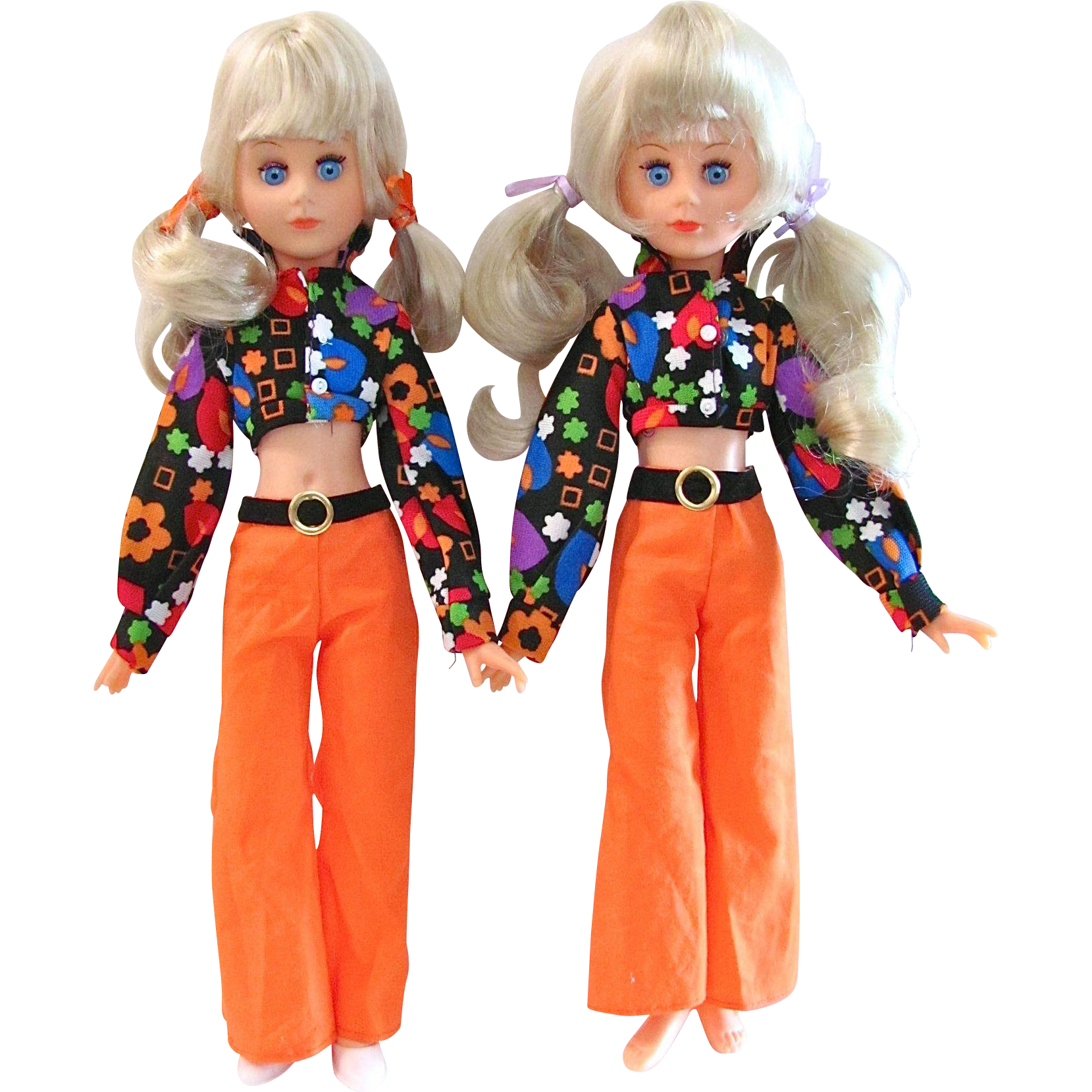 Fashion Doll Twins, Groovy Mod Platinum Blond Pair, 15-Inch Jointed Vinyl, Vintage 1960s