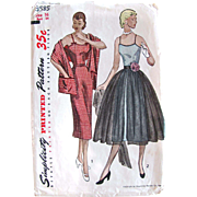 Misses One-Piece Dress with Stole and Overskirt, Simplicity 3585, Vintage 1950s, Size 16, Bust 34 Inches