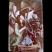 Hand Tinted RPPC, Angel, Doll, Christmas Tree, Joyeux Noel, Divided Back, Vintage 1904