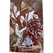 Hand Tinted RPPC, Angel, Doll, Christmas Tree, Joyeux Noel, Divided Back, Vintage 1904