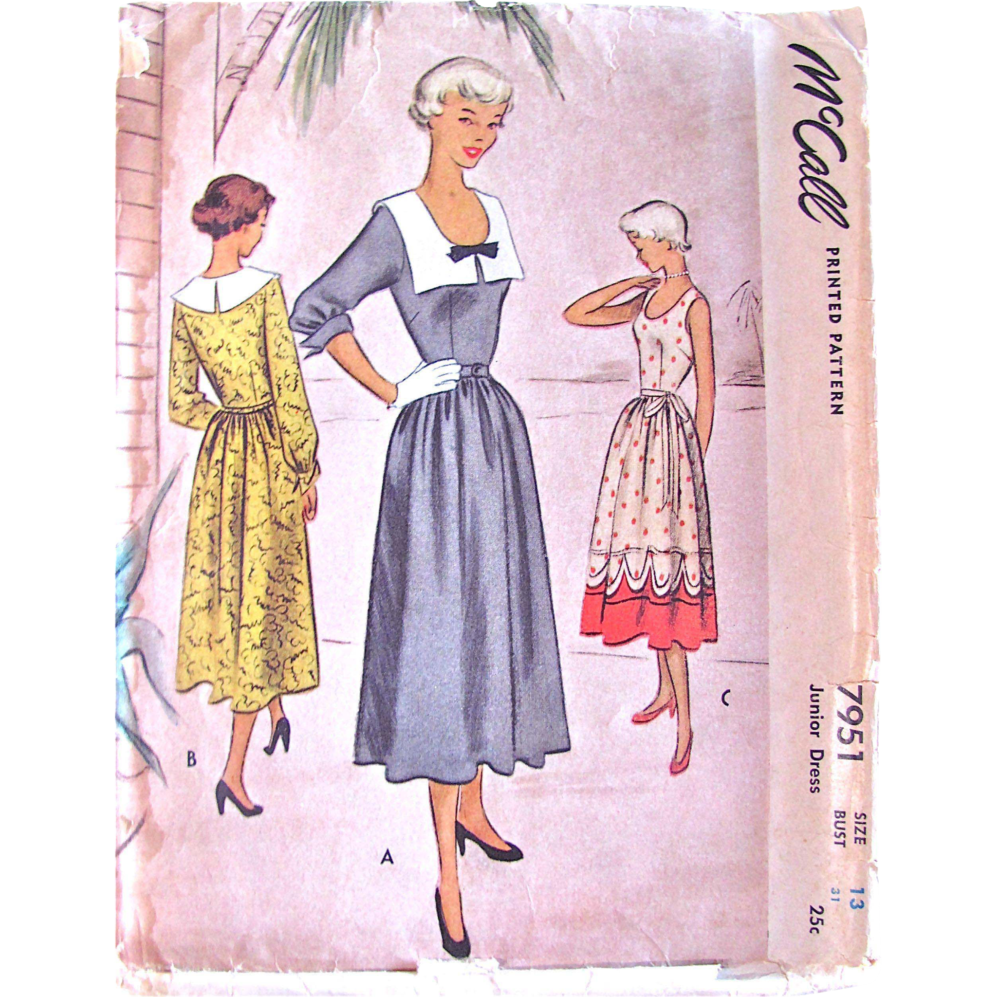 Junior Dress Pattern, Vintage 1950, McCall 7951, Size 13, Bust 31, Cut and Complete