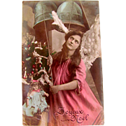 Hand Tinted Glossy Real Photo Post Card, Pink Angel, Doll, Christmas Tree, Joyeux Noel, Divided Back, Circa 1904