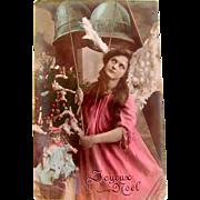 Hand Tinted Glossy Real Photo Post Card, Pink Angel, Doll, Christmas Tree, Joyeux Noel, Divided Back, Circa 1904