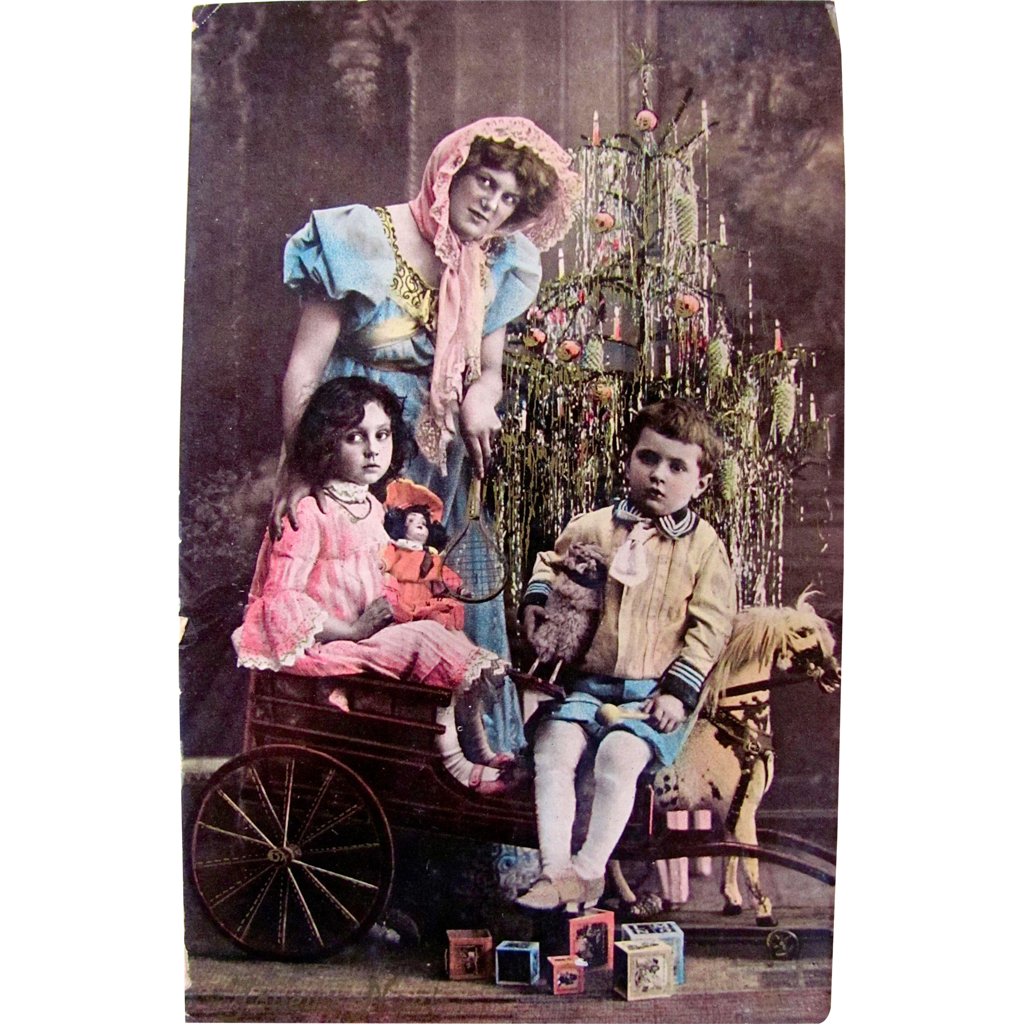 Hand Tinted European RPPC, Little Girl, Doll, Little Boy, Toy Cart and Horse, Decorated Christmas Tree, Postmarked 1905, Divided Back with Written Address