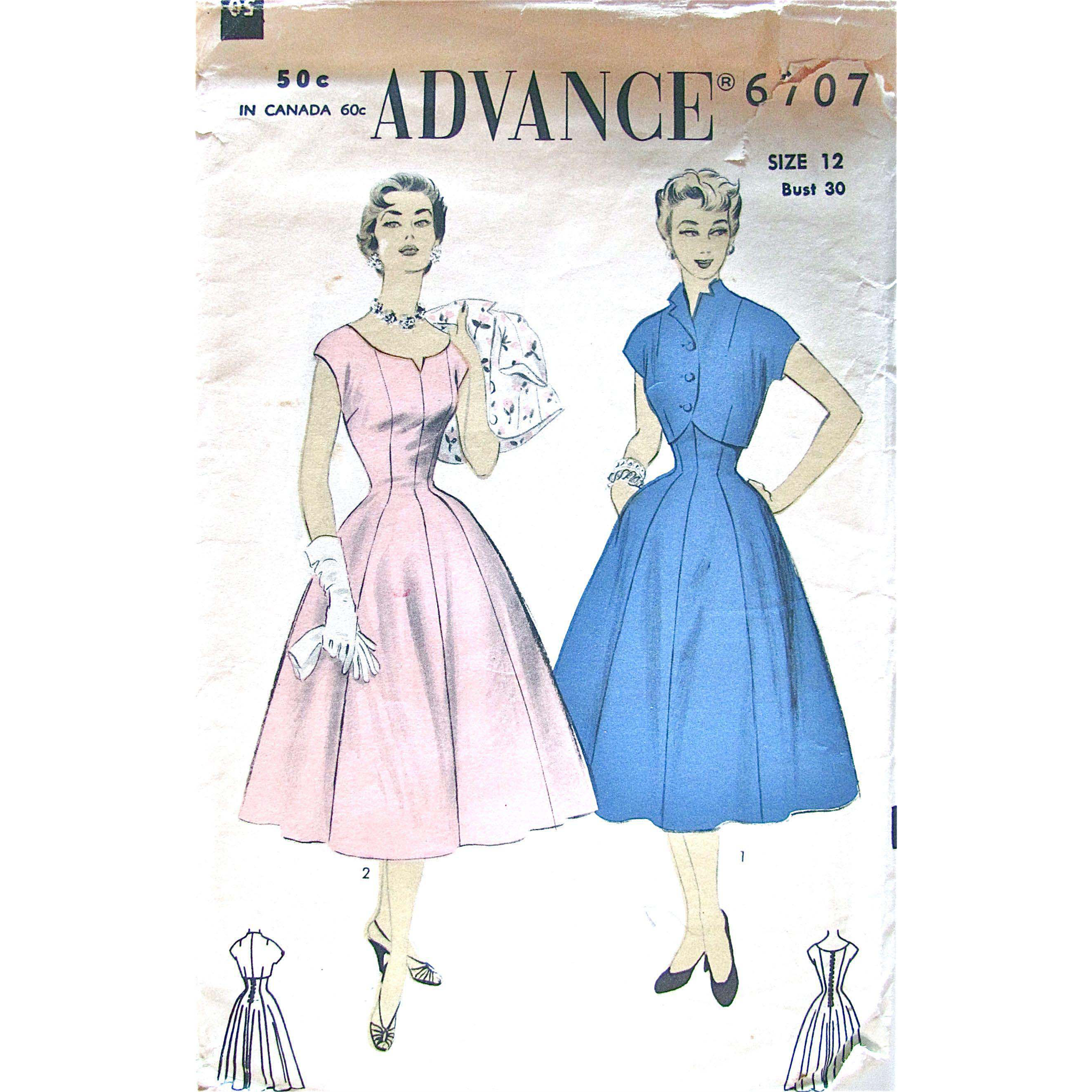 Misses Dress and Bolero, Advance Pattern 6707, Vintage 1950s, Size 12, Bust 30, Die Cut and Complete
