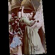 Hand Tinted Glossy Real Photo Post Card, Green Angel, Doll, Bells, Christmas Tree, Joyeux Noel, Divided Back, Circa 1904