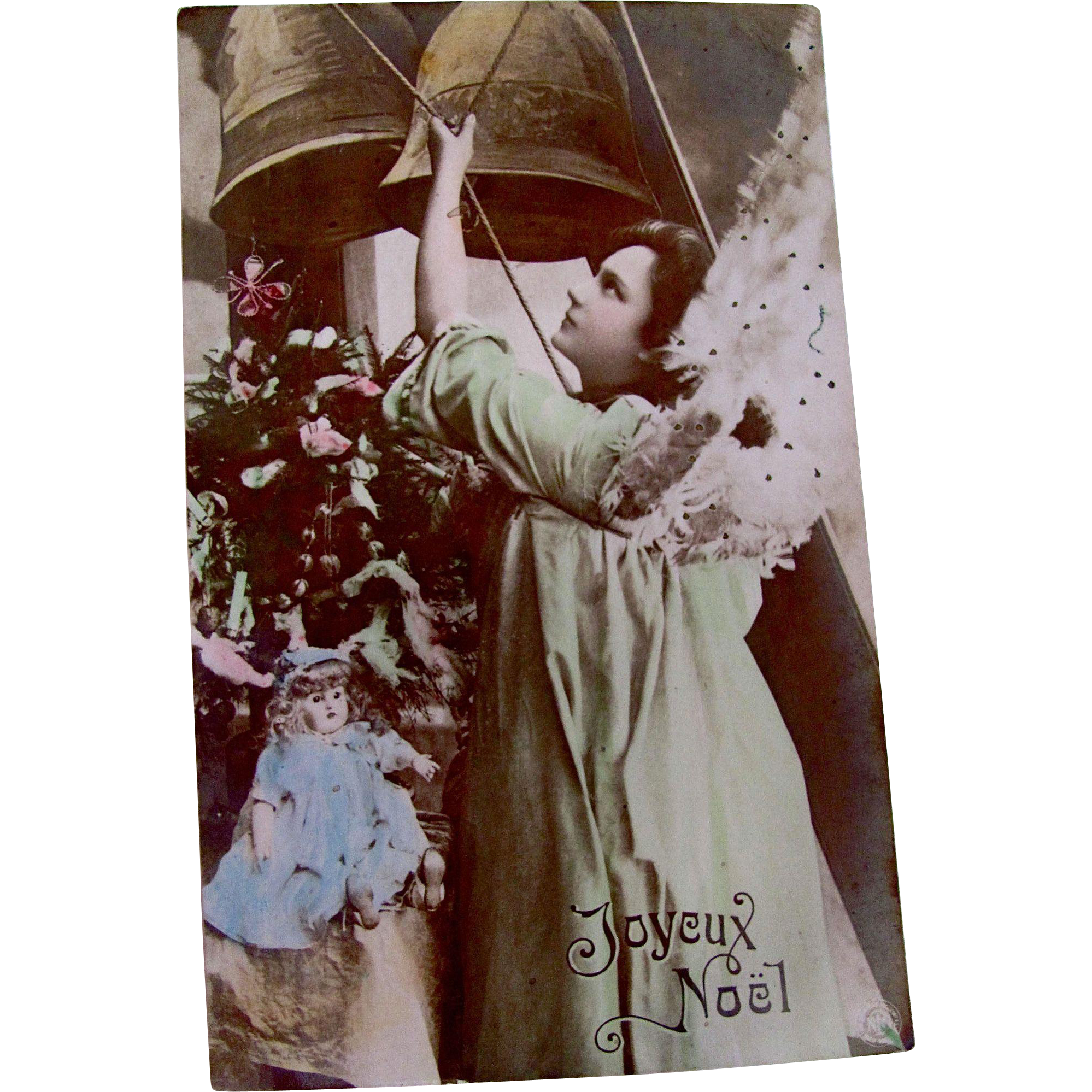 Hand Tinted Glossy Real Photo Post Card, Green Angel, Doll, Bells, Christmas Tree, Joyeux Noel, Divided Back, Circa 1904