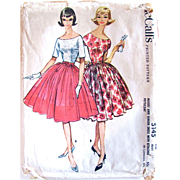 Misses Dress With Attached Petticoat, McCall's Pattern 5145, Vintage 1959, Size 10, Bust 31, Uncut and Factory Folded