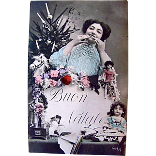 Tinted French Real Photo Post Card, Buon Natale, Beautiful Woman, Bisque Dolls, Toys, Christmas Tree, Vintage 1908, Divided Back, Postmarked