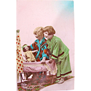 European RPPC, Hand Tinted, Children, Bisque Doll, Bassinette, Vintage 1930s, Divided Back with Written Message and Address