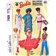 Barbie Dolls Instant Wardrobe, McCall's Pattern 7429, Vintage 1964, Also Fits Miss Barbie and Midge, Partially Cut, Complete