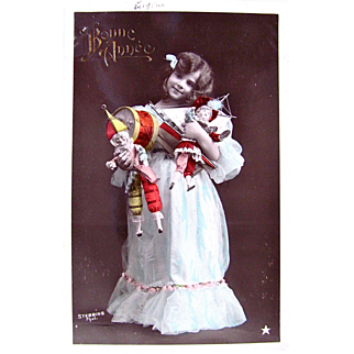 French RPPC, Hand Tinted, Bonne Annee, Little Girl, Dolls, Toys, Postmarked 1907, Divided Back with Written Message and Address