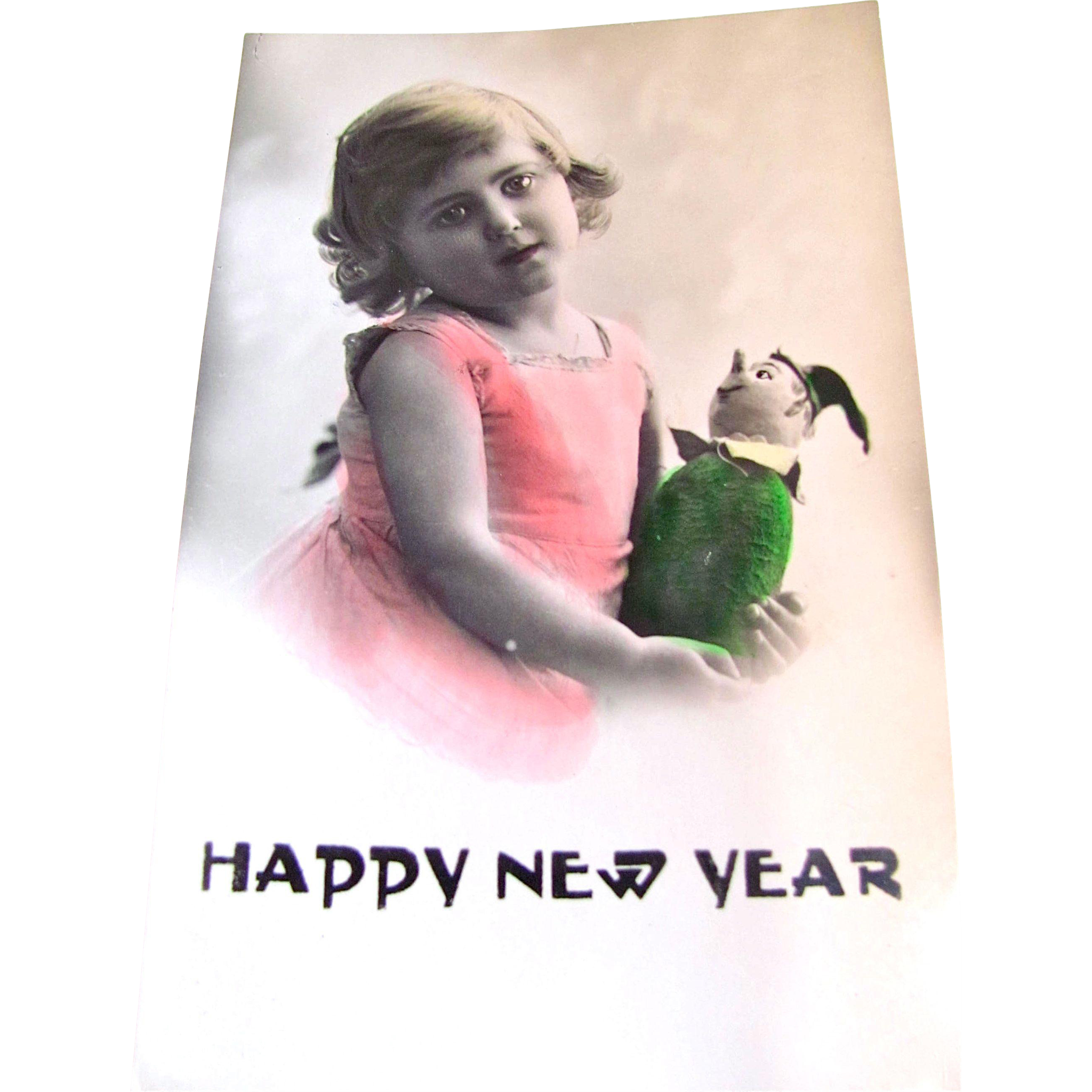 Tinted RPPC, Happy New Year, Little Girl, Felt Doll. Vintage 1930s, Divided Back, Unused