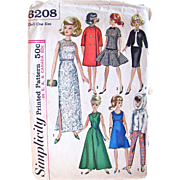 Misty  Dolls Wardrobe Pattern, Simplicity 6208, Vintage 1965, Fits Teen Model Dolls Like Annette, Mitzi, Gina, Kay, Polly Jr. Barbie, Babs, Misty and Midge, Partially Cut, Complete