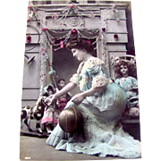 Tinted French Real Photo Post Card, A Merry Christmas and a glad New Year, Beautiful Woman, Bisque Dolls, Toys, Vintage 1910s, Divided Back, Message and Address