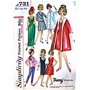 Tressy Doll Wardrobe Pattern, Simplicity 5731, Vintage 1964, Fits 11-1/2 Inch Teen Model Dolls, Partially Cut and Complete