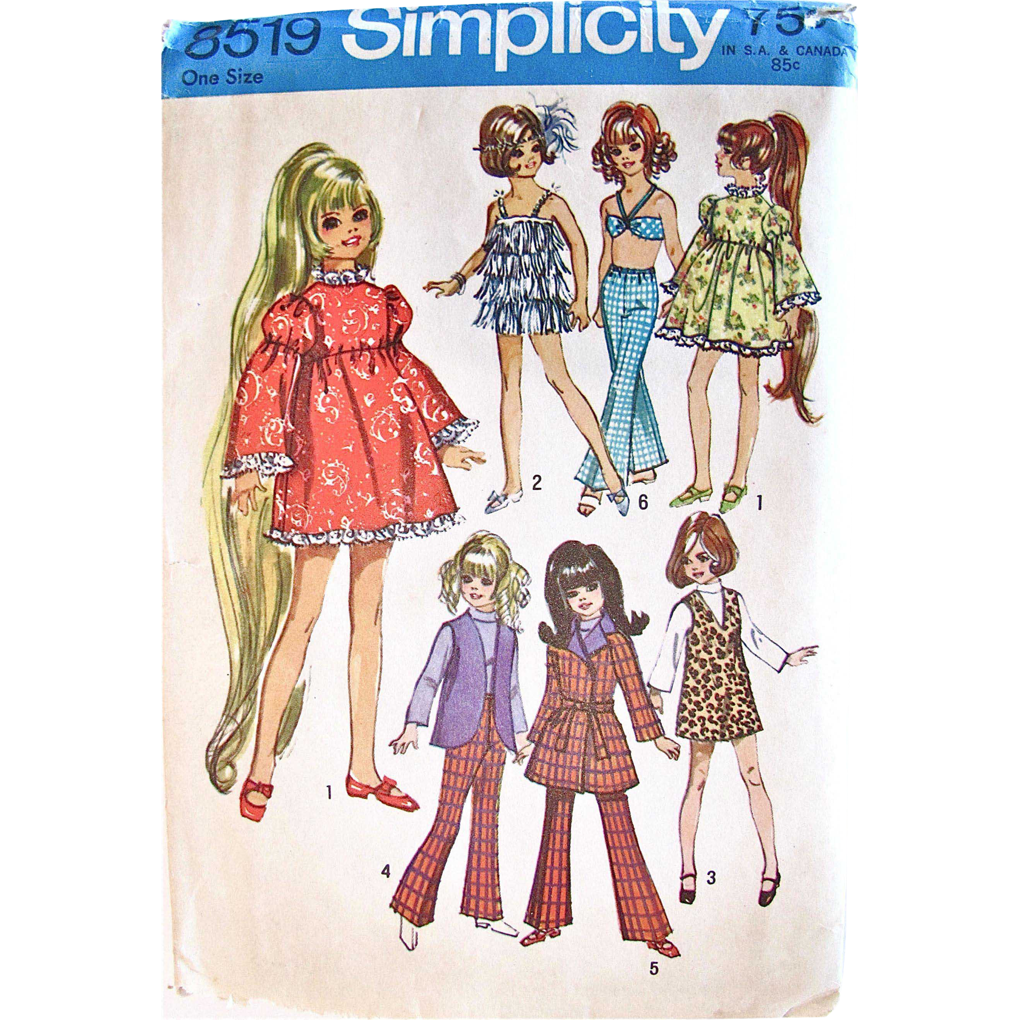 Crissy Doll Wardrobe Pattern, Simplicity 8519, Vintage 1969, Fits 17-1/2 Inch Teen Dolls, Partially Cut and Complete