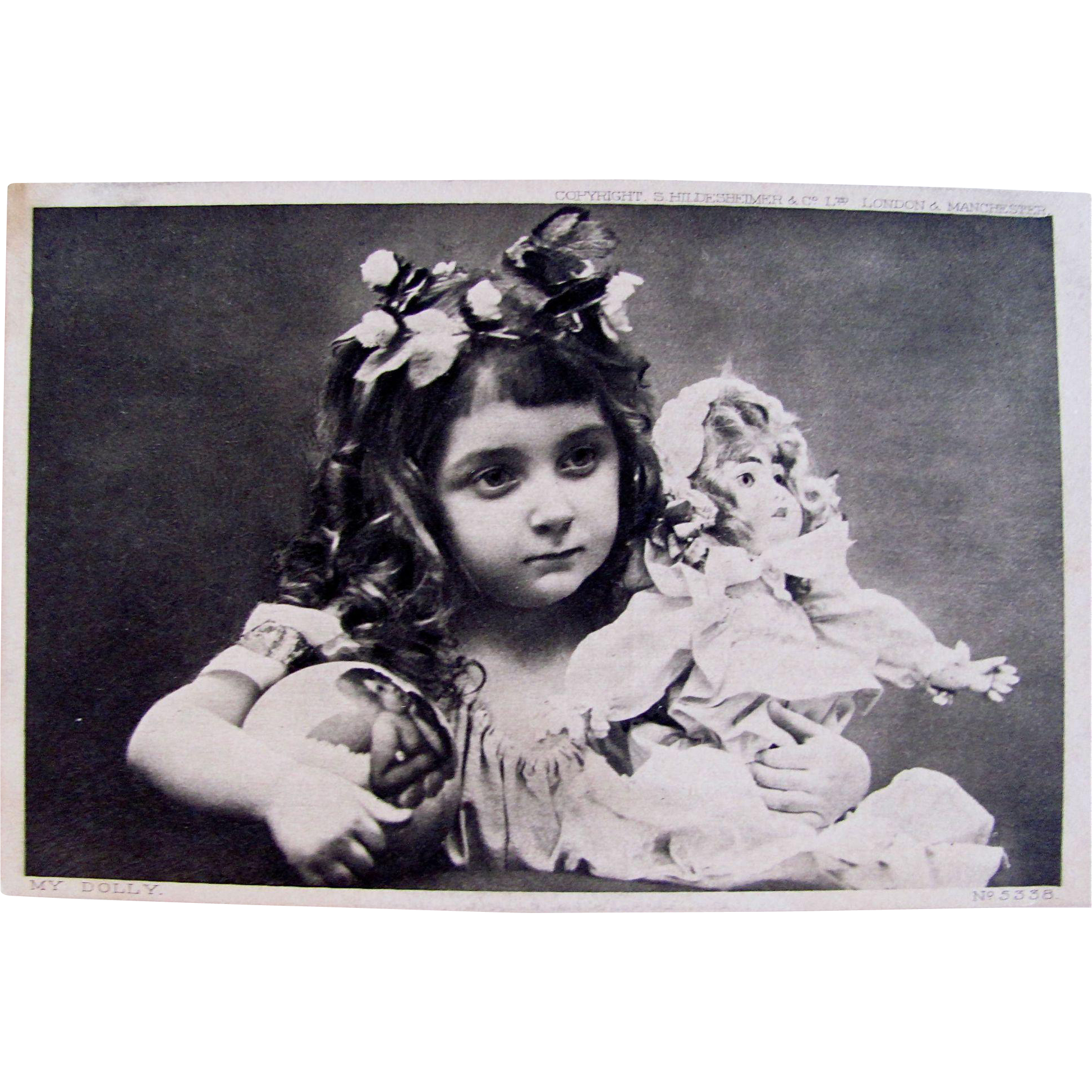 Real Photo Post Card, My Dolly, Little Girl with Bisque Doll, Divided Back, Unused, Vintage 1900s