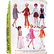 Barbie Dolls Instant Wardrobe Pattern, McCall's 9605, Vintage 1968, Uncut and Factory Folded, Fits 11-1/2 Inch Teen Fashion Dolls Barbie, Francie, Casey, Midge, Barbara Joe, Babs, Gina, Annette, Batgirl, Mera, Wonder Woman, Supergirl, Tammy