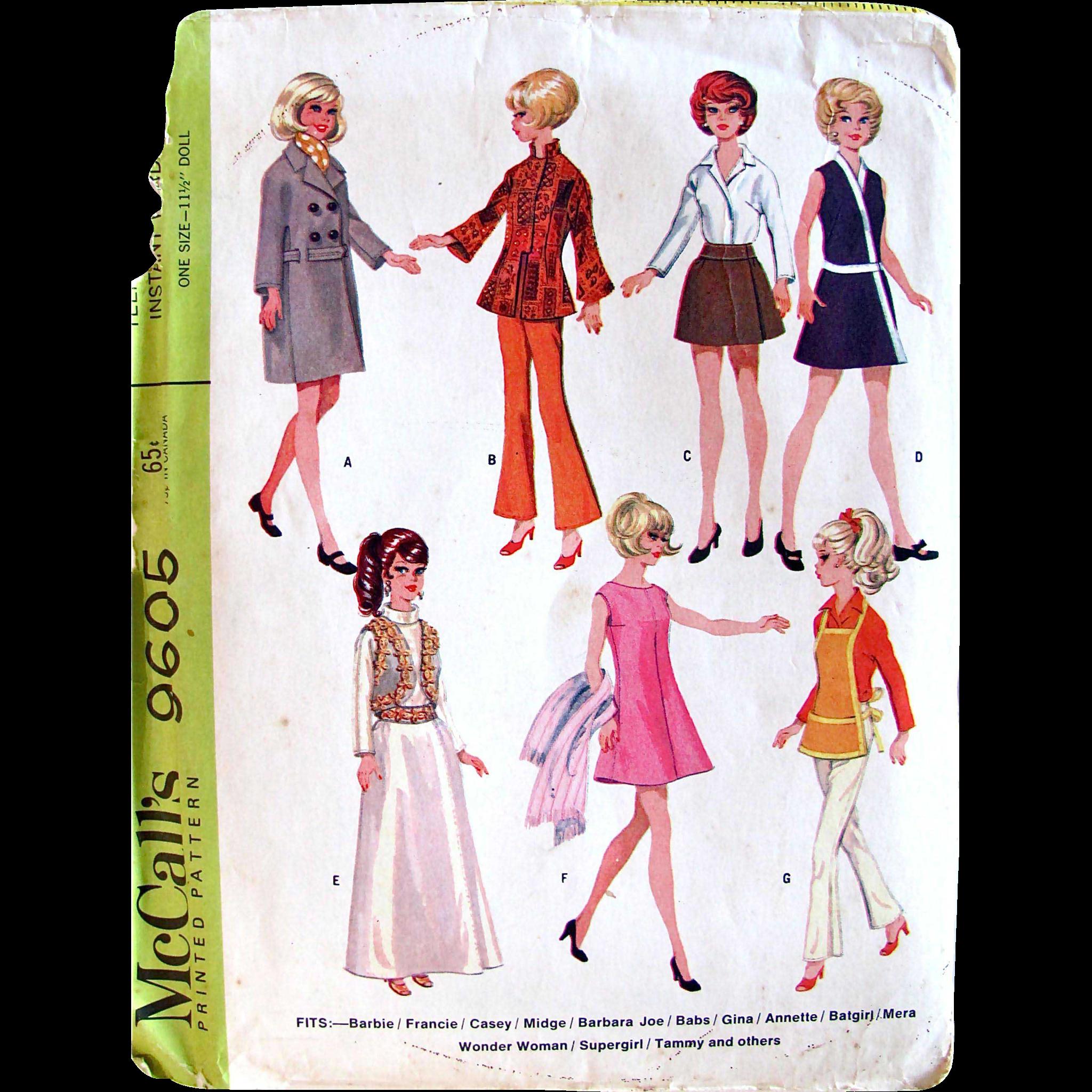 Barbie Dolls Instant Wardrobe Pattern, McCall's 9605, Vintage 1968, Uncut and Factory Folded, Fits 11-1/2 Inch Teen Fashion Dolls Barbie, Francie, Casey, Midge, Barbara Joe, Babs, Gina, Annette, Batgirl, Mera, Wonder Woman, Supergirl, Tammy