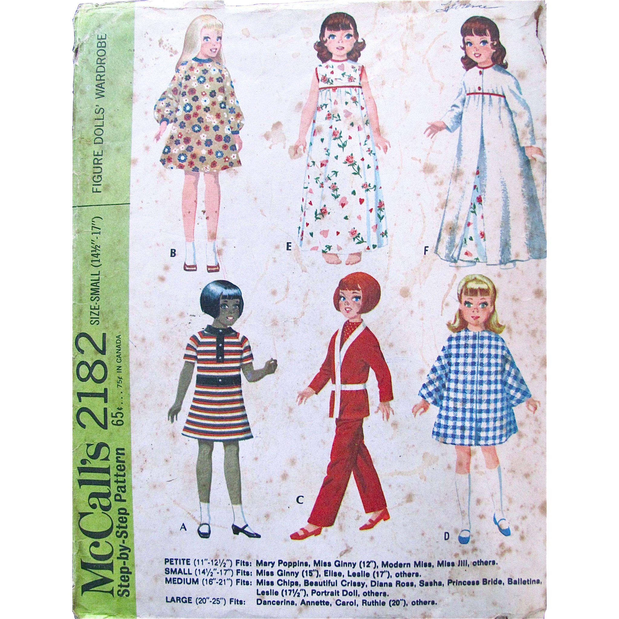 Elise Figure Dolls Wardrobe Pattern, McCall's 2182, Vintage 1969, Complete, Size Small Fits 14-1/2 to 17 Inch Figure Dolls, Miss Ginny, Leslie