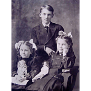 Real Photo Post Card, Brother and Sisters with Bisque Dolls, Unused, Vintage Early 1900s