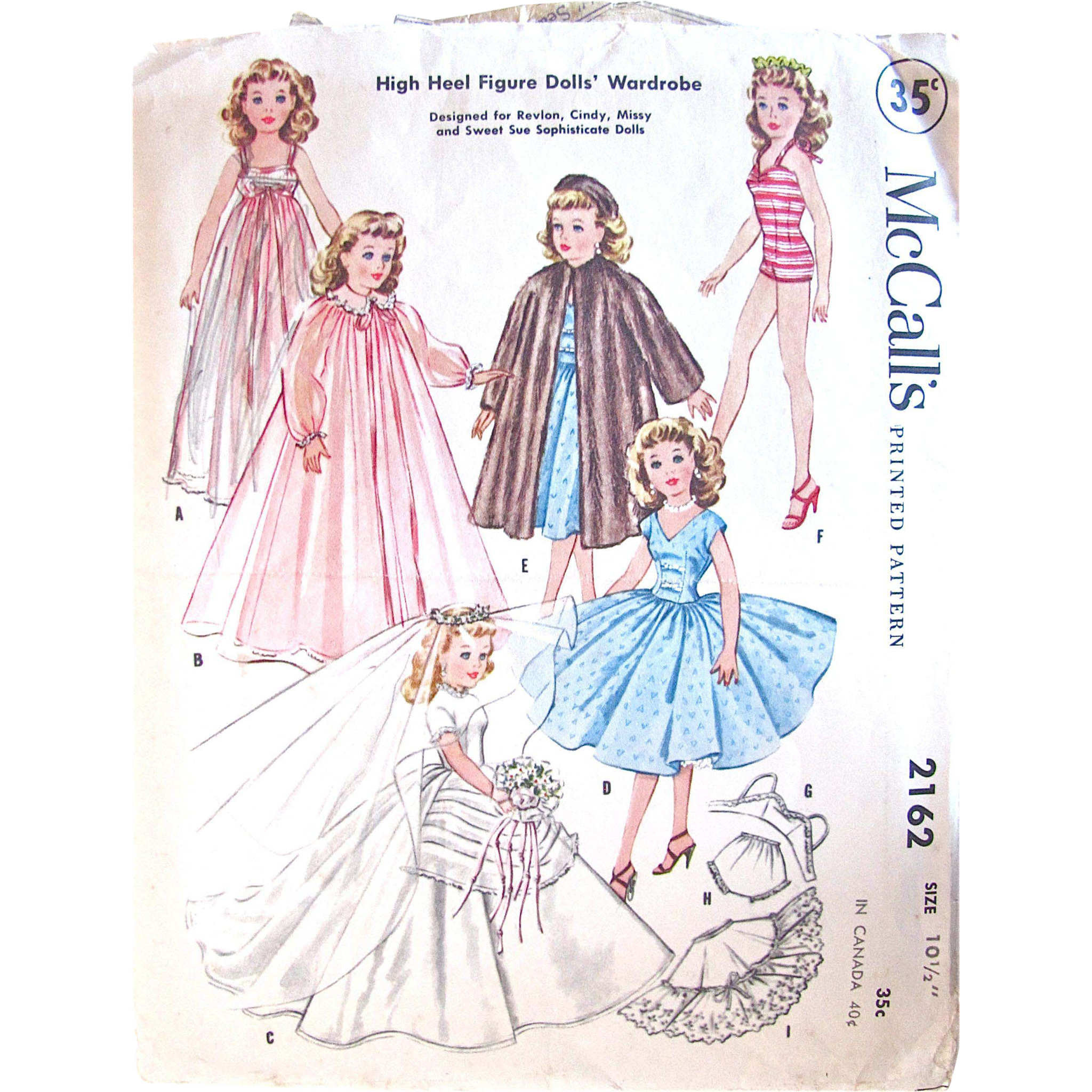 Little Miss Revlon Dolls Wardrobe Pattern, McCall's 2162, Vintage 1957, Complete, Size 10-1/2 Inch, Fits High Heel Figure Dolls, Cindy, Toni