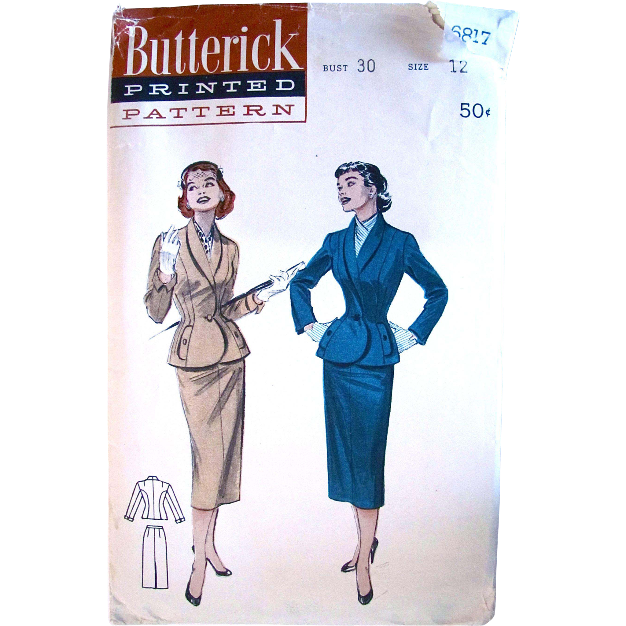 Women's Suit Pattern Butterick 6817 Size 12 Cut and Complete Vintage 1950s