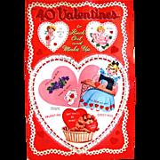 Book of Flocked Valentines Uncut Complete Vintage 1951 Whitman