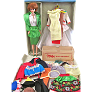 Vintage 1963 Powder Blue Barbie Case, Titian Bubble Barbie Doll, Tagged Wardrobe and Accessories – Over 40 Items