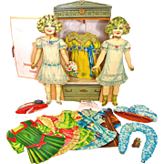 German Lithographed Paper Dolls Set With Armoire In Original Box Vintage 1890's