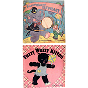 Fuzzy Wuzzy Books, 2 Different Titles, Whitman, Vintage 1940s, Fuzzy Wuzzy Elephant and Fuzzy Wuzzy Kitten