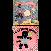 Fuzzy Wuzzy Books, 2 Different Titles, Whitman, Vintage 1940s, Fuzzy Wuzzy Elephant and Fuzzy Wuzzy Kitten